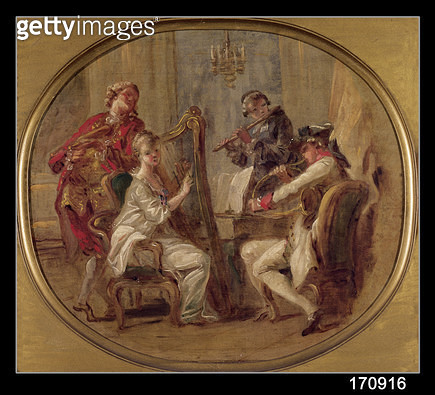 <b>Title</b> : Concert with Four Figures, c.1774 (oil on canvas)Additional Infoformerly attributed to Jean Honore Fragonard (1732-1806);<br><b>Medium</b> : oil on canvas<br><b>Location</b> : Musee de Picardie, Amiens, France<br> - gettyimageskorea