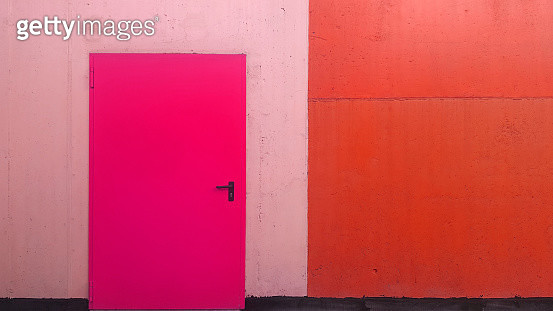 Color manipulation of colorful wall with colored metal back door - gettyimageskorea