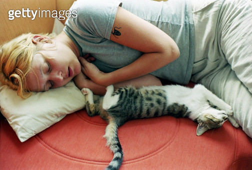 Girl and kitten sleeping - gettyimageskorea