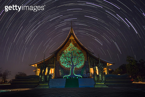 Star trail over the Sirindhorn Wararam Phu Prao Temple (Wat Phu Prao). Ubon Ratchathani, Thailand Unseen - gettyimageskorea