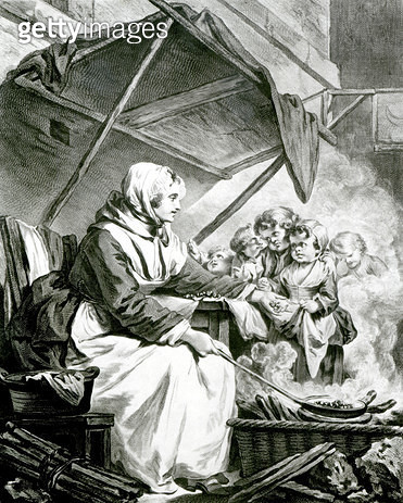 <b>Title</b> : Bargaining Over Chestnuts (engraving) (b/w photo)<br><b>Medium</b> : engraving<br><b>Location</b> : Private Collection<br> - gettyimageskorea