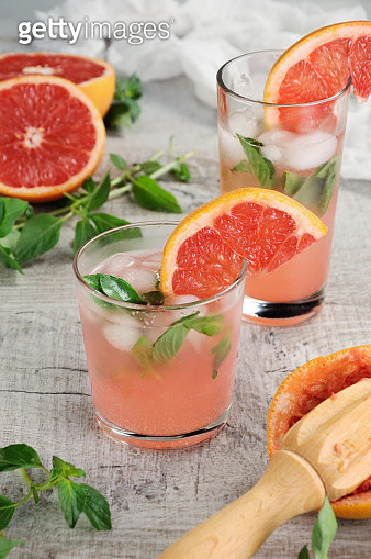 Cocktail Of Grapefruit And Lemon Basil - gettyimageskorea