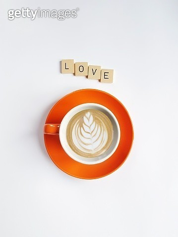 Directly Above Shot Of Coffee By Love Text Over White Background - gettyimageskorea