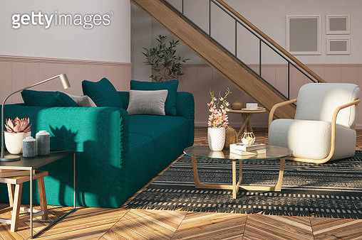 Picture of the modern, colorful living room. Render image. - gettyimageskorea