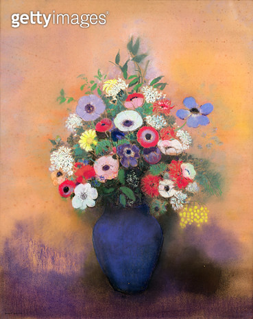 <b>Title</b> : Anemones and lilac in a Blue Vase, after 1912 (pastel)<br><b>Medium</b> : pastel on paper<br><b>Location</b> : Musee de la Ville de Paris, Musee du Petit-Palais, France<br> - gettyimageskorea