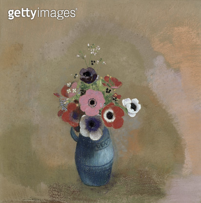 <b>Title</b> : Bouquet of anemones (pastel)<br><b>Medium</b> : pastel on paper<br><b>Location</b> : Musee de la Ville de Paris, Musee du Petit-Palais, France<br> - gettyimageskorea