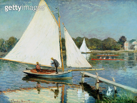 <b>Title</b> : Sailing at Argenteuil, c.1874 (oil on canvas)<br><b>Medium</b> : oil on canvas<br><b>Location</b> : Private Collection<br> - gettyimageskorea