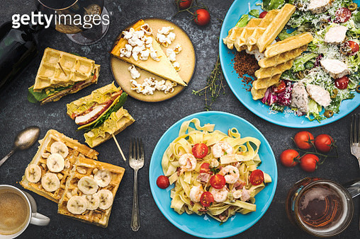 Many different various dishes top view - gettyimageskorea