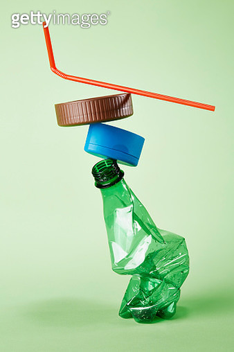 A stack of plastic rubbish for recycling - gettyimageskorea