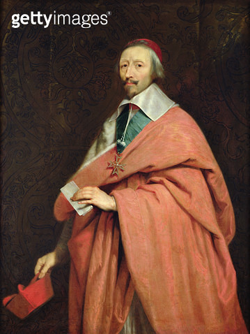 <b>Title</b> : Cardinal Richelieu (1585-1642) c.1639 (oil on canvas)<br><b>Medium</b> : oil on canvas<br><b>Location</b> : Chateau de Versailles, France<br> - gettyimageskorea