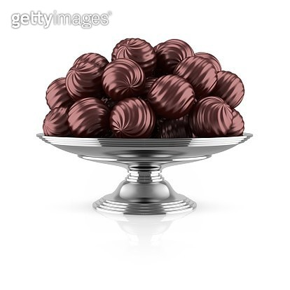 Dark chocolates on silver tray, illustration - gettyimageskorea