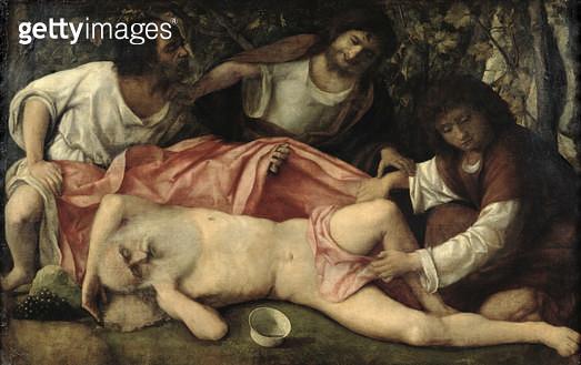<b>Title</b> : The Mocking of Noah (oil on canvas)<br><b>Medium</b> : oil on canvas<br><b>Location</b> : Musee des Beaux-Arts et d'Archeologie, Besancon, France<br> - gettyimageskorea