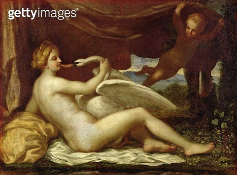 <b>Title</b> : Leda and the Swan (oil on canvas)<br><b>Medium</b> : oil on canvas<br><b>Location</b> : Musee Conde, Chantilly, France<br> - gettyimageskorea