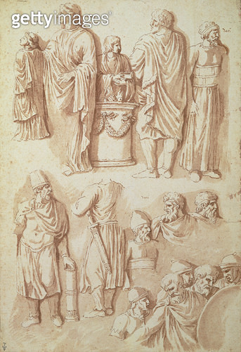 <b>Title</b> : Various figures, studies from Trajan's Column (pen and ink)<br><b>Medium</b> : pen and ink<br><b>Location</b> : Musee Conde, Chantilly, France<br> - gettyimageskorea