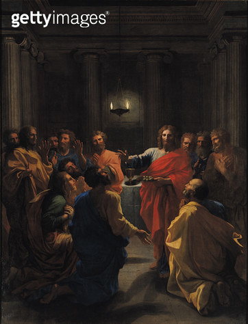 <b>Title</b> : Christ Instituting the Eucharist, or The Last Supper, 1640 (oil on canvas)<br><b>Medium</b> : oil on canvas<br><b>Location</b> : Louvre, Paris, France<br> - gettyimageskorea