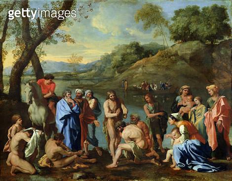 <b>Title</b> : St. John Baptising the People, c.1636-7 (oil on canvas)<br><b>Medium</b> : oil on canvas<br><b>Location</b> : Louvre, Paris, France<br> - gettyimageskorea