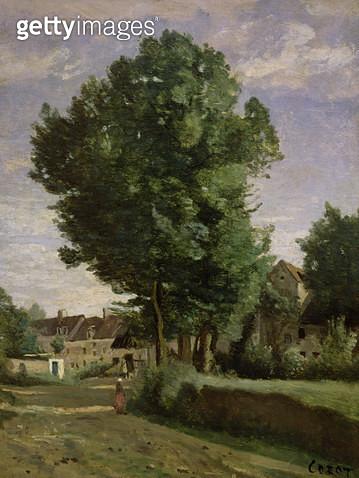 <b>Title</b> : Outskirts of a village near Beauvais, c.1850 (oil on canvas)<br><b>Medium</b> : oil on canvas<br><b>Location</b> : Louvre, Paris, France<br> - gettyimageskorea