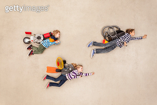 Children flying with new flying machines - gettyimageskorea