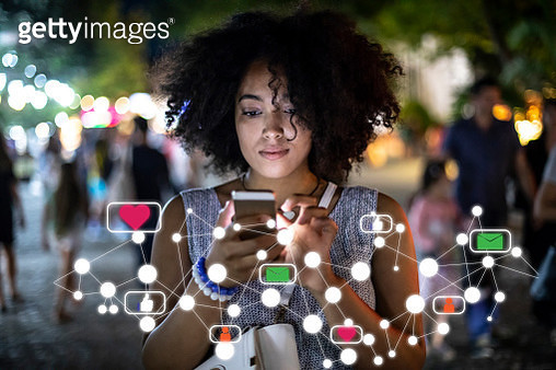 Social media and digital online concept, woman using smartphone - gettyimageskorea