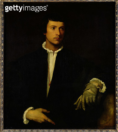 <b>Title</b> : The Man with a Glove, c.1520 (oil on canvas)<br><b>Medium</b> : oil on canvas<br><b>Location</b> : Louvre, Paris, France<br> - gettyimageskorea