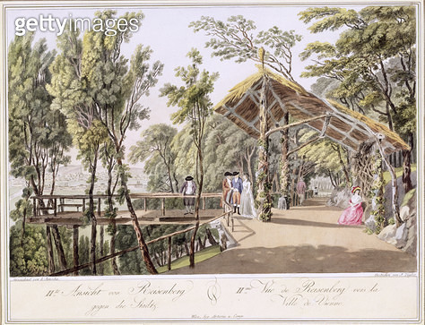 <b>Title</b> : View of the Reisenberg Gardens near the city of Vienna, engraved by Johann Ziegler (c.1750-c.1812) (colour litho)<br><b>Medium</b> : <br><b>Location</b> : Private Collection<br> - gettyimageskorea