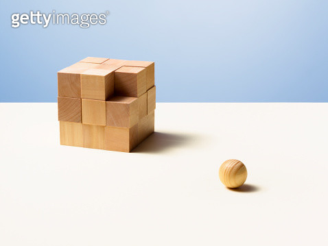Wooden ball with wooden cube - gettyimageskorea