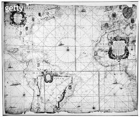SECOND PASKAERT MAP, 1621. /nThis map was first issued shortly after the incorporation, in 1621, of the Dutch West India Company, whose possessions it portrayed. - gettyimageskorea