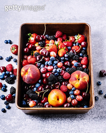 Fresh fruits (carry, berries, peaches) - gettyimageskorea