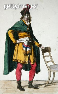 <b>Title</b> : Civilian Dress of a French Citizen, c.1795 (coloured engraving)Additional InfoHabit Civil du Citoyen Francais; engraved by Vivan<br><b>Medium</b> : colour engraving<br><b>Location</b> : Bibliotheque des Arts Decoratifs, Paris, France<br> - gettyimageskorea