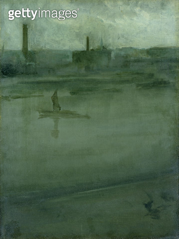 <b>Title</b> : Grey and Silver: The Thames (oil on canvas)<br><b>Medium</b> : <br><b>Location</b> : Hunterian Art Gallery, University of Glasgow, Scotland<br> - gettyimageskorea