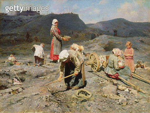 <b>Title</b> : Poor People Gathering Coal at an Exhausted Mine, 1894 (oil on canvas)<br><b>Medium</b> : oil on canvas<br><b>Location</b> : State Russian Museum, St. Petersburg, Russia<br> - gettyimageskorea