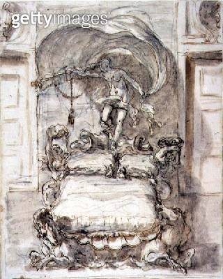 <b>Title</b> : Bed with Sea-horses and Fortune (brown ink and wash over chalk)<br><b>Medium</b> : pen and brown ink and brown wash over black chalk<br><b>Location</b> : Galleria dell' Accademia, Venice, Italy<br> - gettyimageskorea