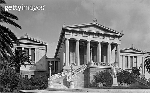 <b>Title</b> : The National Library, Athens, c.1950 (b/w photo)Additional Infoone part of the 'Neo-Classical Trilogy';<br><b>Medium</b> : <br><b>Location</b> : Benaki Museum, Athens, Greece<br> - gettyimageskorea