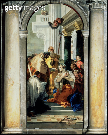 <b>Title</b> : The Last Communion of St. Lucy, 1745-46 (oil on canvas)<br><b>Medium</b> : oil on canvas<br><b>Location</b> : Santi Apostoli, Venice, Italy<br> - gettyimageskorea