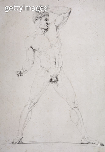 <b>Title</b> : Male Nude, Creugas of Durazzo, from Pausanias's description of the Nemean Games in his Itinary of Greece, 1794 (pen and ink)<br><b>Medium</b> : pen and grey ink over graphite on white paper<br><b>Location</b> : Museo Correr, Venice, Italy<b - gettyimageskorea