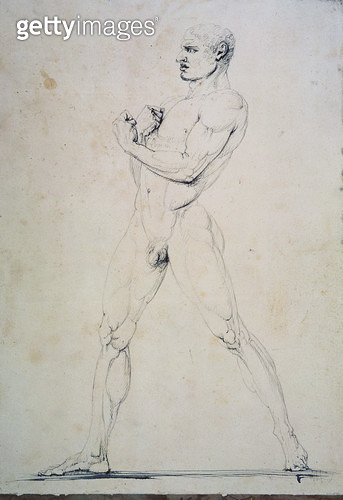 <b>Title</b> : Male Nude, Damoxenos of Syracuse, from Pausanias's description of the Nemean Games in his Itinary of Greece (2nd century BC), 17<br><b>Medium</b> : pen and grey ink over graphite on white paper<br><b>Location</b> : Museo Correr, Venice, Ita - gettyimageskorea