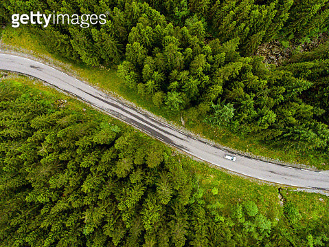Norwegian country road seen from above - gettyimageskorea