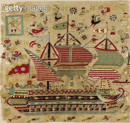 <b>Title</b> : Bridal cushion cover, from Skyros, Sporades Islands (linen embroidered with silk threads)Additional Infothree-masted schooner;<br><b>Medium</b> : linen embroidered with silk threads<br><b>Location</b> : Benaki Museum, Athens, Greece<br> - gettyimageskorea