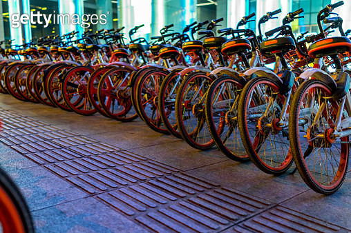 Public rental bikes at shopping mall - gettyimageskorea