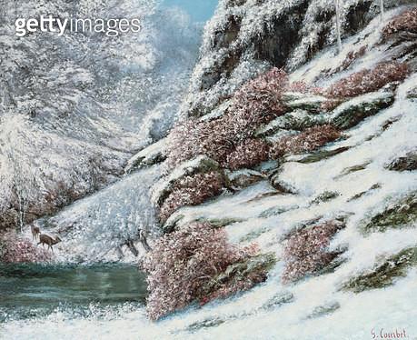 <b>Title</b> : Deer in a Snowy Landscape, 1867<br><b>Medium</b> : oil on canvas<br><b>Location</b> : Galerie Daniel Malingue, Paris, France<br> - gettyimageskorea
