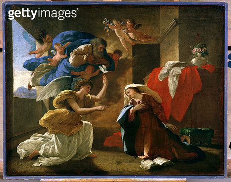 <b>Title</b> : The Annunciation, c.1627 (oil on canvas)Additional Infoformerly attributed to Nicolas Poussin;<br><b>Medium</b> : oil on canvas<br><b>Location</b> : Musee Conde, Chantilly, France<br> - gettyimageskorea