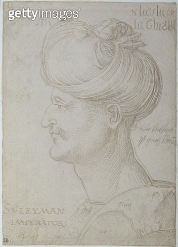 <b>Title</b> : Head of Suleyman the Magnificent (1494-1566) 1526 (silverpoint on paper)<br><b>Medium</b> : silverpoint on paper<br><b>Location</b> : Musee Bonnat, Bayonne, France<br> - gettyimageskorea