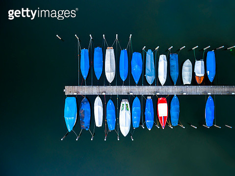 Boats moored at dock or jetty top view, view from above, aerial view - gettyimageskorea