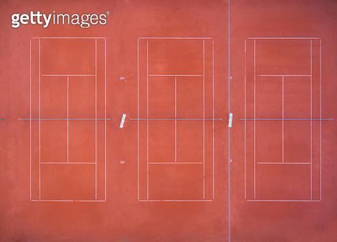 Empty tennis court, top view, aerial view - gettyimageskorea