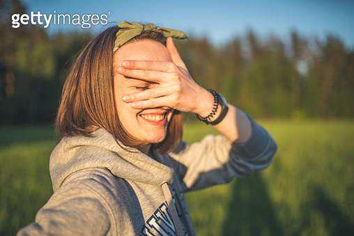 Portrait of a laughing young woman - gettyimageskorea