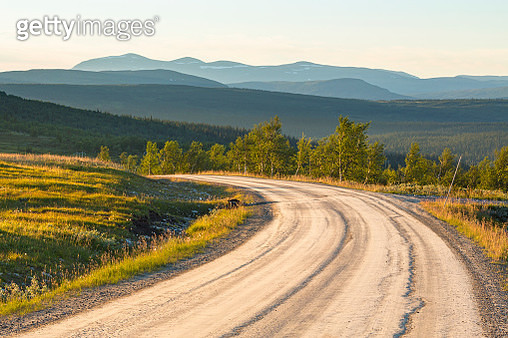 Dirt Road With A Scenic View Of A Woodland With Mountains In The Horizon - gettyimageskorea