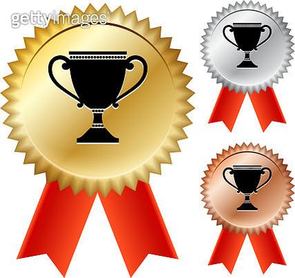 Trophy Gold Medal Prize Ribbons - gettyimageskorea