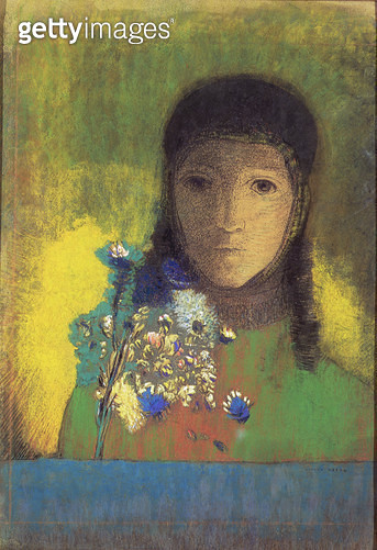 <b>Title</b> : Woman with Wild Flowers, 1895-1900 (pastel, charcoal)<br><b>Medium</b> : pastel and charcoal<br><b>Location</b> : Hermitage, St. Petersburg, Russia<br> - gettyimageskorea
