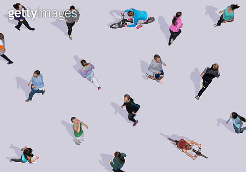 Group of young people doing sports, Aerial Views - gettyimageskorea