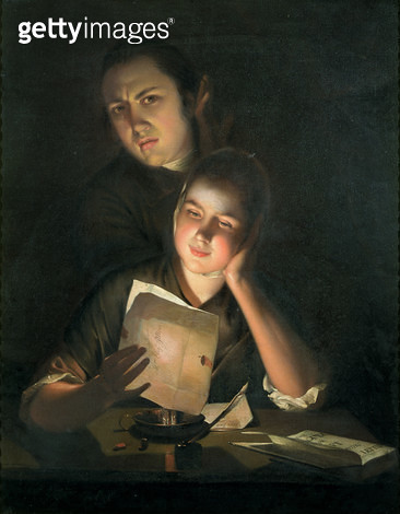 <b>Title</b> : A Girl reading a letter by Candlelight, with a Young Man peering over her shoulder, c.1760-2<br><b>Medium</b> : oil on canvas<br><b>Location</b> : Private Collection<br> - gettyimageskorea